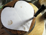 Na sestavljeno reformco sem položila iz papirja izrezano srce in po njem obrezala torto.